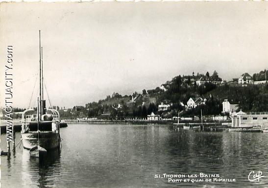 Cartes postales anciennes de thonon les bains 74200 actuacity - Restaurant port de thonon ...