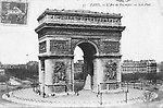 L'Arc de Triomphe et la Place de l'Étoile en 1910 [cachet de la poste]