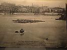 Inondations de janvier 1910 : Le barrage de la Monnaie recouvert par les eaux.